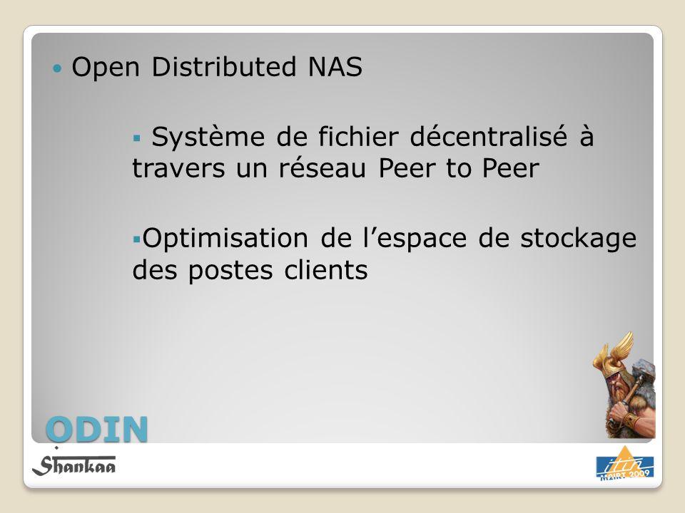 Open Distributed NAS Système de fichier décentralisé à travers un réseau Peer to Peer Optimisation de lespace de stockage des postes clients ODIN