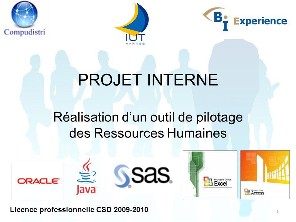 1 PROJET INTERNE Réalisation dun outil de pilotage des Ressources Humaines Licence professionnelle CSD 2009-2010