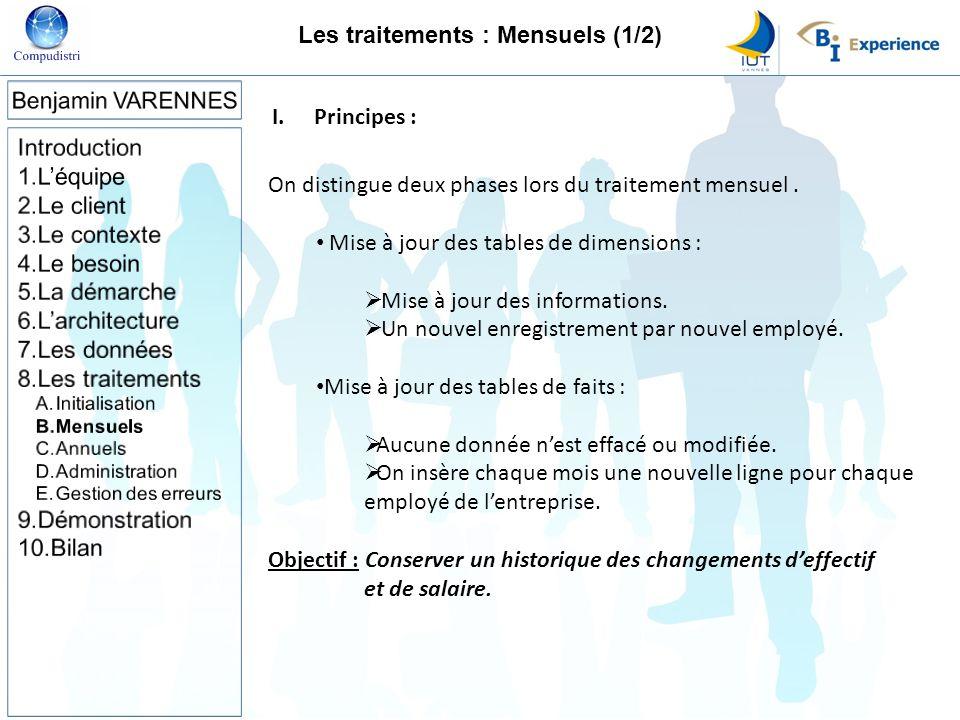 I.Principes : On distingue deux phases lors du traitement mensuel. Mise à jour des tables de dimensions : Mise à jour des informations. Un nouvel enre