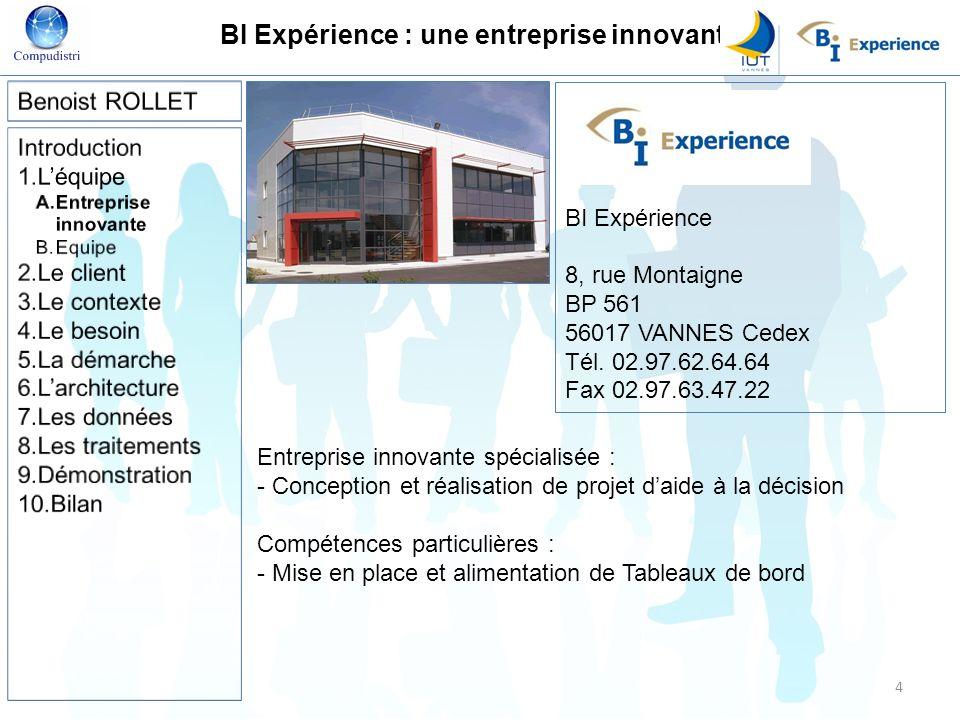 BI Expérience : une entreprise innovante Entreprise innovante spécialisée : - Conception et réalisation de projet daide à la décision Compétences part