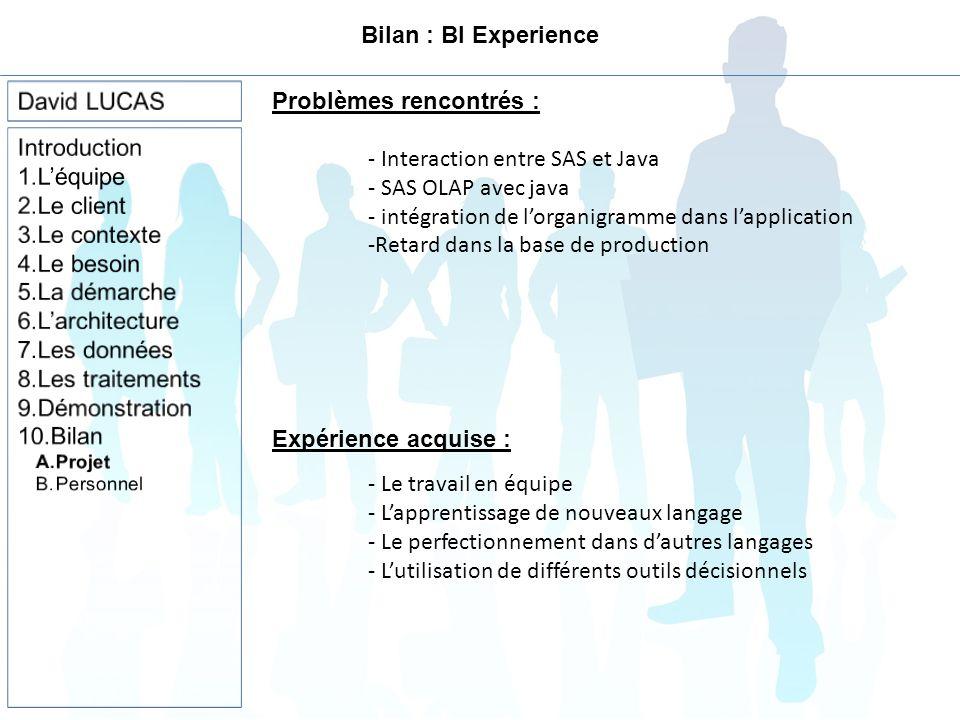 Bilan : BI Experience Problèmes rencontrés : - Interaction entre SAS et Java - SAS OLAP avec java - intégration de lorganigramme dans lapplication -Retard dans la base de production - Le travail en équipe - Lapprentissage de nouveaux langage - Le perfectionnement dans dautres langages - Lutilisation de différents outils décisionnels Expérience acquise :