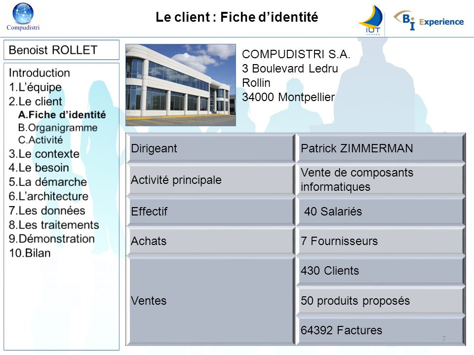 Le client : Fiche didentité COMPUDISTRI S.A. 3 Boulevard Ledru Rollin 34000 Montpellier DirigeantPatrick ZIMMERMAN Activité principale Vente de compos