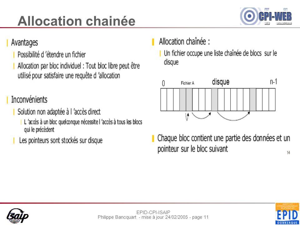 EPID-CPI-ISAIP Philippe Bancquart - mise à jour 24/02/2005 - page 11 Allocation chainée