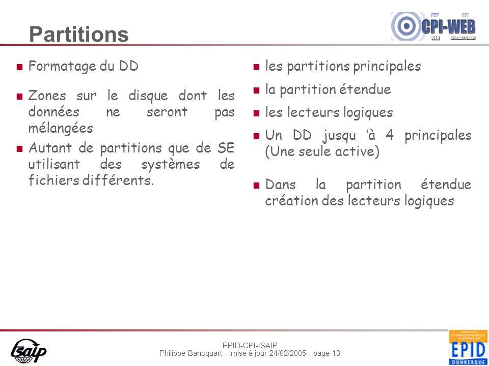 EPID-CPI-ISAIP Philippe Bancquart - mise à jour 24/02/2005 - page 13 Partitions Formatage du DD Zones sur le disque dont les données ne seront pas mél