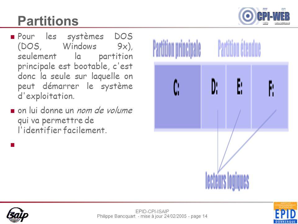 EPID-CPI-ISAIP Philippe Bancquart - mise à jour 24/02/2005 - page 14 Partitions Pour les systèmes DOS (DOS, Windows 9x), seulement la partition princi