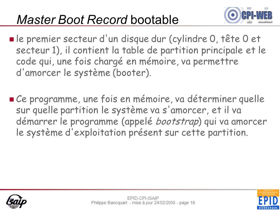 EPID-CPI-ISAIP Philippe Bancquart - mise à jour 24/02/2005 - page 16 Master Boot Record bootable le premier secteur d'un disque dur (cylindre 0, tête