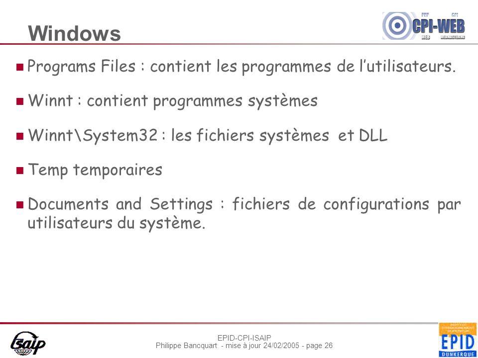 EPID-CPI-ISAIP Philippe Bancquart - mise à jour 24/02/2005 - page 26 Windows Programs Files : contient les programmes de lutilisateurs. Winnt : contie