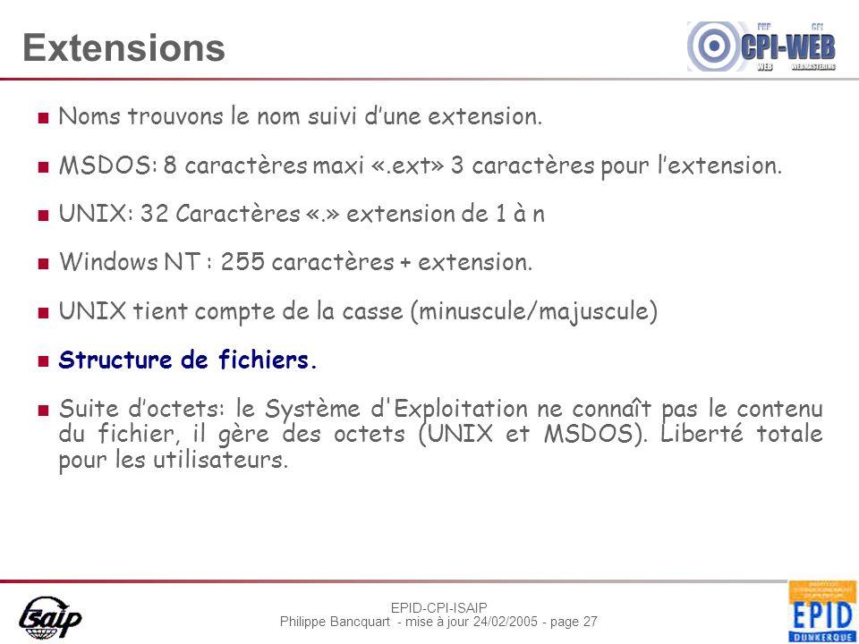 EPID-CPI-ISAIP Philippe Bancquart - mise à jour 24/02/2005 - page 27 Extensions Noms trouvons le nom suivi dune extension. MSDOS: 8 caractères maxi «.