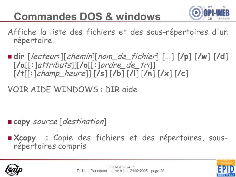EPID-CPI-ISAIP Philippe Bancquart - mise à jour 24/02/2005 - page 28 Commandes DOS & windows Affiche la liste des fichiers et des sous-répertoires d'u