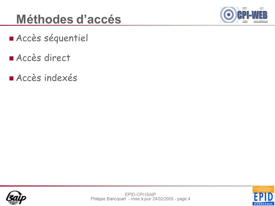 EPID-CPI-ISAIP Philippe Bancquart - mise à jour 24/02/2005 - page 5 Accès séquentiel Les éléments sont lus ou écrit dans lordre darrivée Méthode adaptée aux supports magnétiques (bandes)