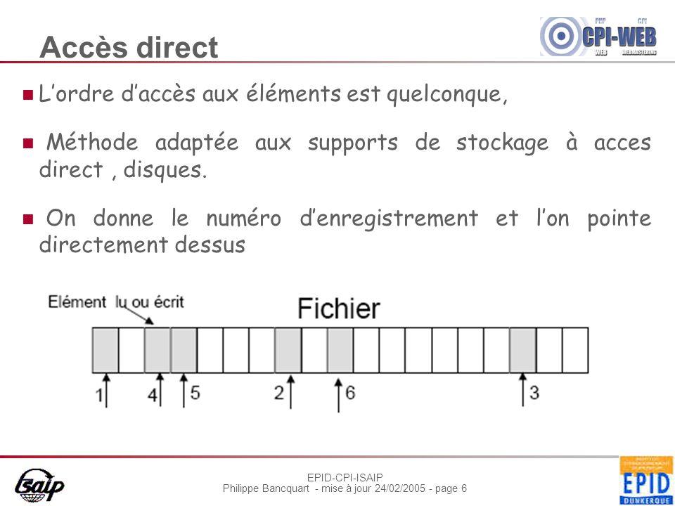 EPID-CPI-ISAIP Philippe Bancquart - mise à jour 24/02/2005 - page 6 Accès direct Lordre daccès aux éléments est quelconque, Méthode adaptée aux suppor