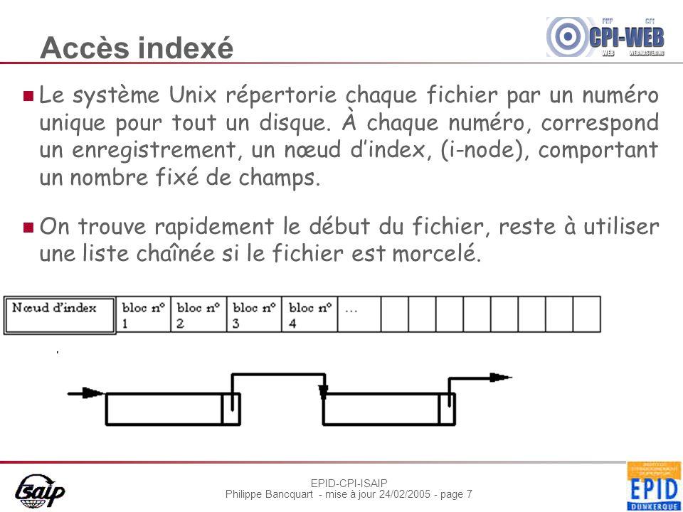 EPID-CPI-ISAIP Philippe Bancquart - mise à jour 24/02/2005 - page 7 Accès indexé Le système Unix répertorie chaque fichier par un numéro unique pour t