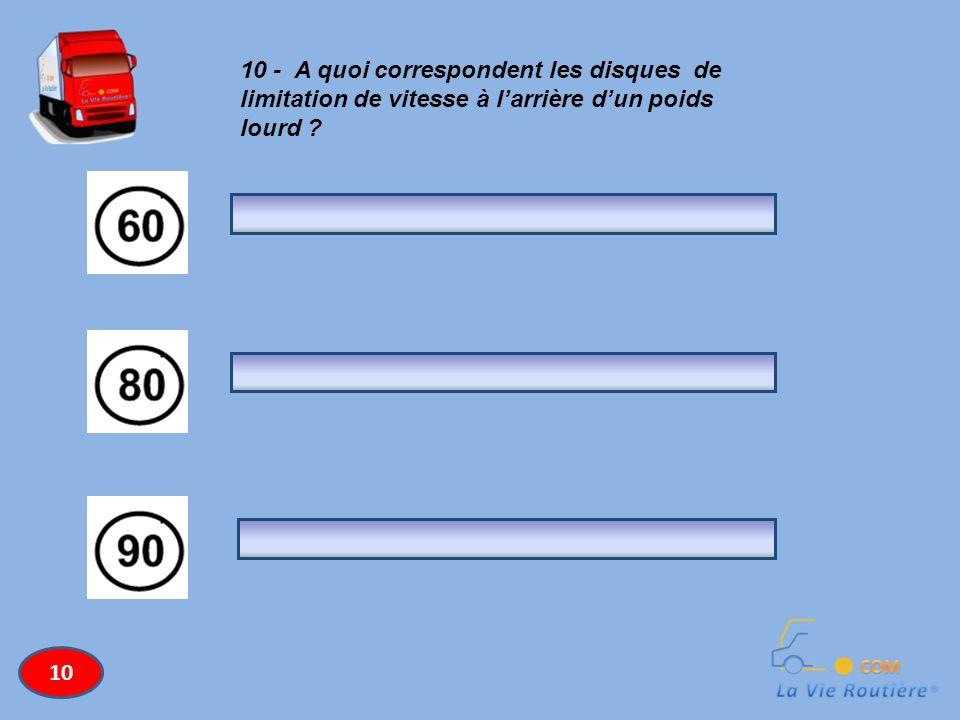 10 - A quoi correspondent les disques de limitation de vitesse à larrière dun poids lourd ? 10