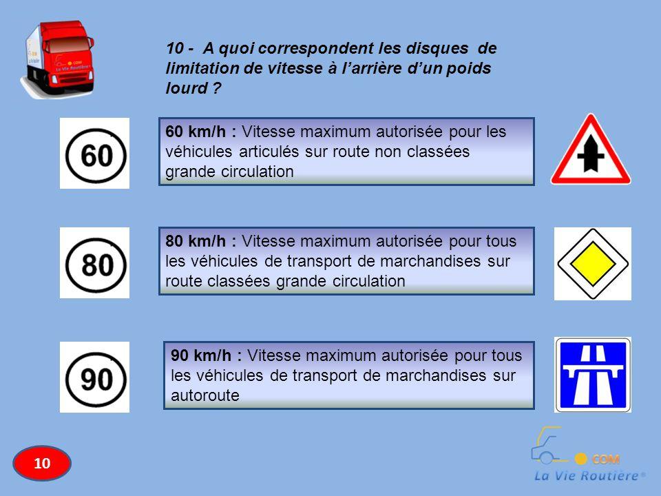 10 - A quoi correspondent les disques de limitation de vitesse à larrière dun poids lourd ? 60 km/h : Vitesse maximum autorisée pour les véhicules art