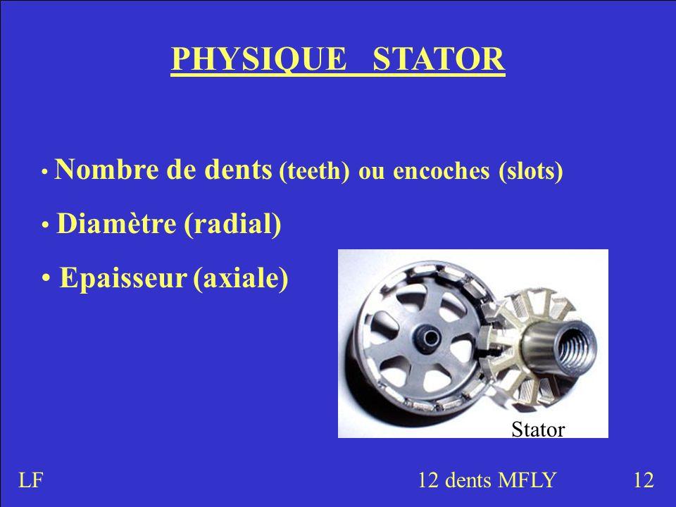 PHYSIQUE STATOR Nombre de dents (teeth) ou encoches (slots) Diamètre (radial) Epaisseur (axiale) 1212 dents MFLY Stator LF