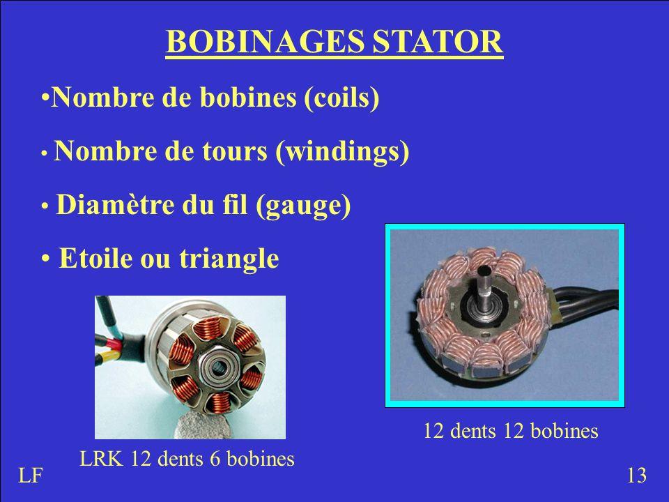 BOBINAGES STATOR Nombre de bobines (coils) Nombre de tours (windings) Diamètre du fil (gauge) Etoile ou triangle 13 12 dents 12 bobines LRK 12 dents 6