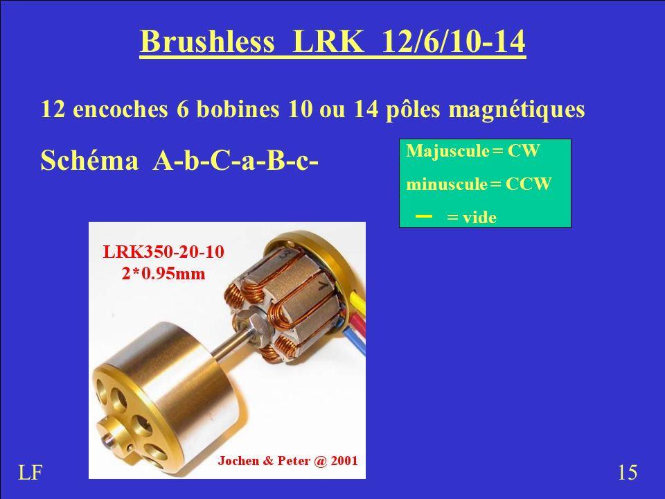 Brushless LRK 12/6/10-14 12 encoches 6 bobines 10 ou 14 pôles magnétiques Schéma A-b-C-a-B-c- 15 Majuscule = CW minuscule = CCW = vide LF