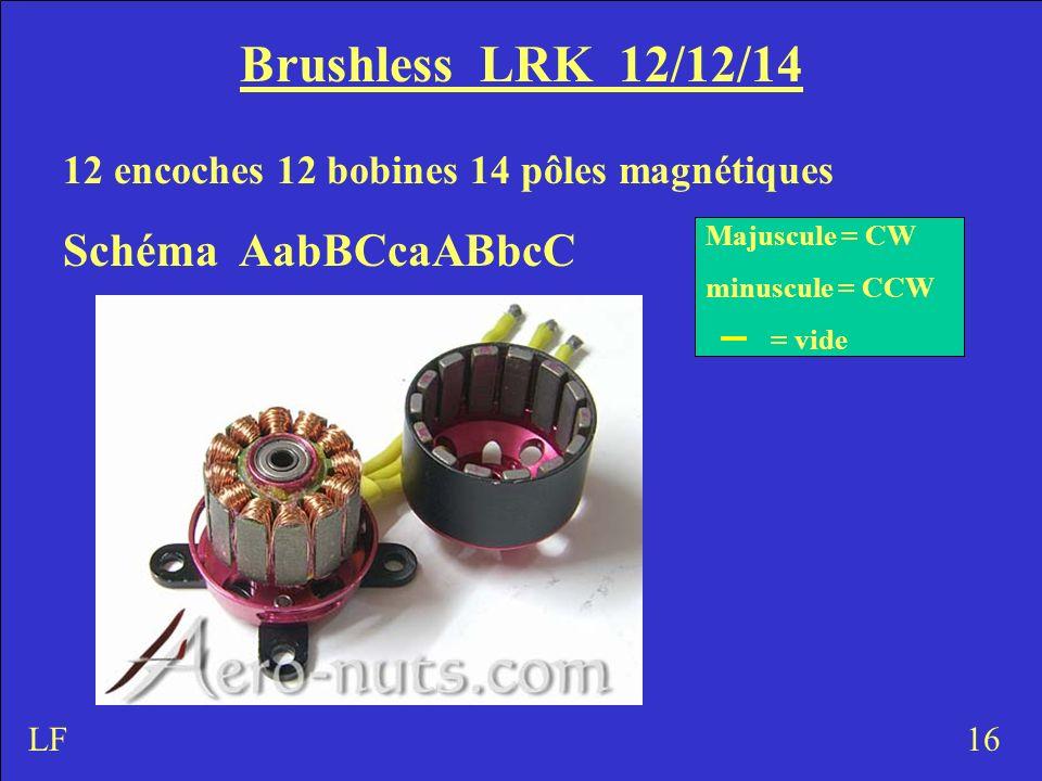 Brushless LRK 12/12/14 12 encoches 12 bobines 14 pôles magnétiques Schéma AabBCcaABbcC 16 Majuscule = CW minuscule = CCW = vide LF