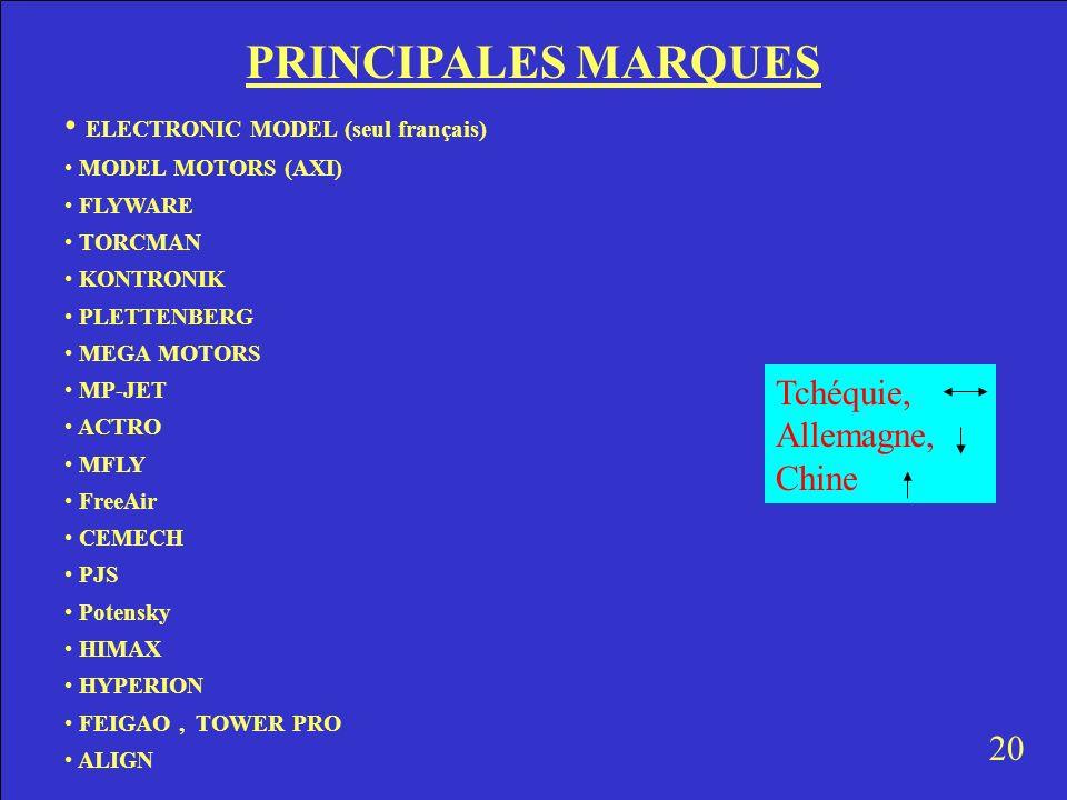 PRINCIPALES MARQUES ELECTRONIC MODEL (seul français) MODEL MOTORS (AXI) FLYWARE TORCMAN KONTRONIK PLETTENBERG MEGA MOTORS MP-JET ACTRO MFLY FreeAir CE
