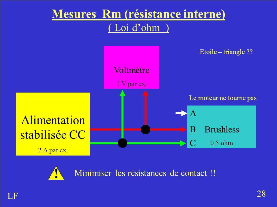 Alimentation stabilisée CC 2 A par ex. Brushless 0.5 ohm Voltmètre 1 V par ex. Le moteur ne tourne pas A B C Etoile – triangle ?? Mesures Rm (résistan