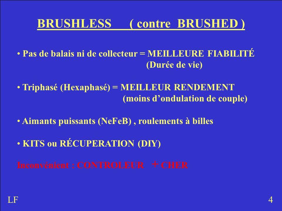BRUSHLESS ( contre BRUSHED ) Pas de balais ni de collecteur = MEILLEURE FIABILITÉ (Durée de vie) Triphasé (Hexaphasé) = MEILLEUR RENDEMENT (moins dond