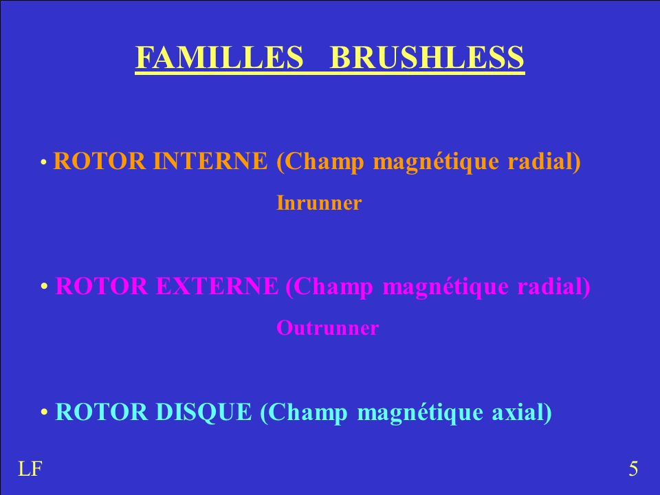 FAMILLES BRUSHLESS ROTOR INTERNE (Champ magnétique radial) Inrunner ROTOR EXTERNE (Champ magnétique radial) Outrunner ROTOR DISQUE (Champ magnétique a