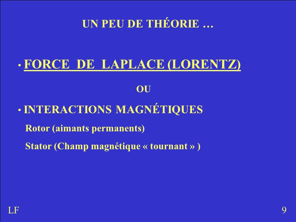 UN PEU DE THÉORIE … FORCE DE LAPLACE (LORENTZ) OU INTERACTIONS MAGNÉTIQUES Rotor (aimants permanents) Stator (Champ magnétique « tournant » ) 9LF