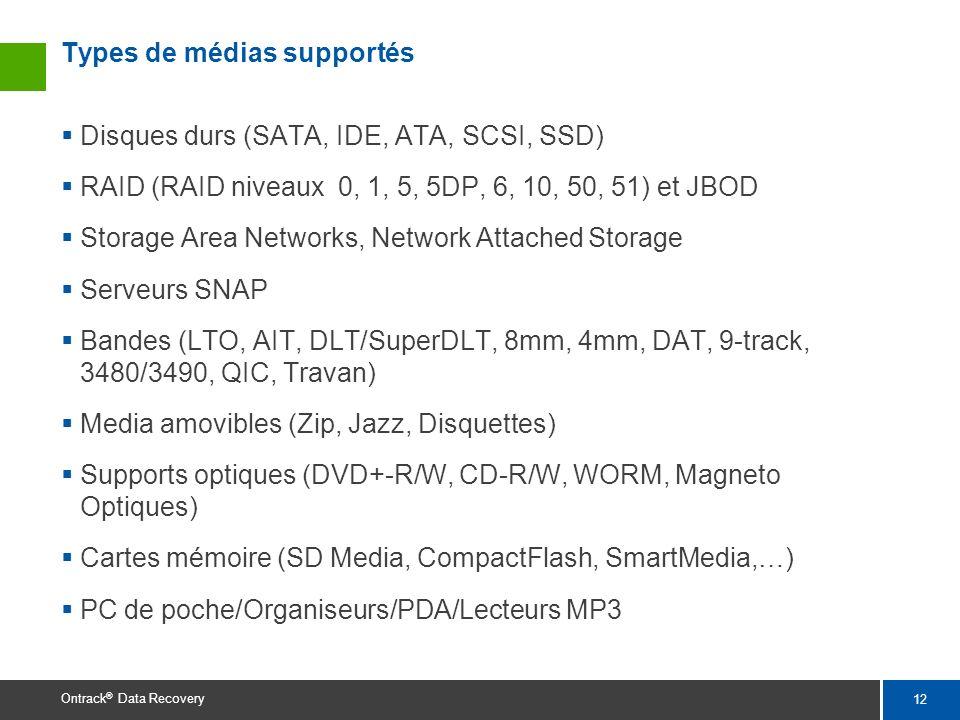 12 Ontrack ® Data Recovery Types de médias supportés Disques durs (SATA, IDE, ATA, SCSI, SSD) RAID (RAID niveaux 0, 1, 5, 5DP, 6, 10, 50, 51) et JBOD