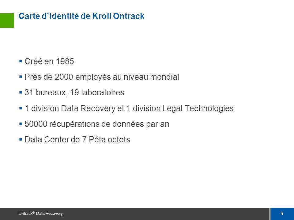 5 Ontrack ® Data Recovery Carte didentité de Kroll Ontrack Créé en 1985 Près de 2000 employés au niveau mondial 31 bureaux, 19 laboratoires 1 division
