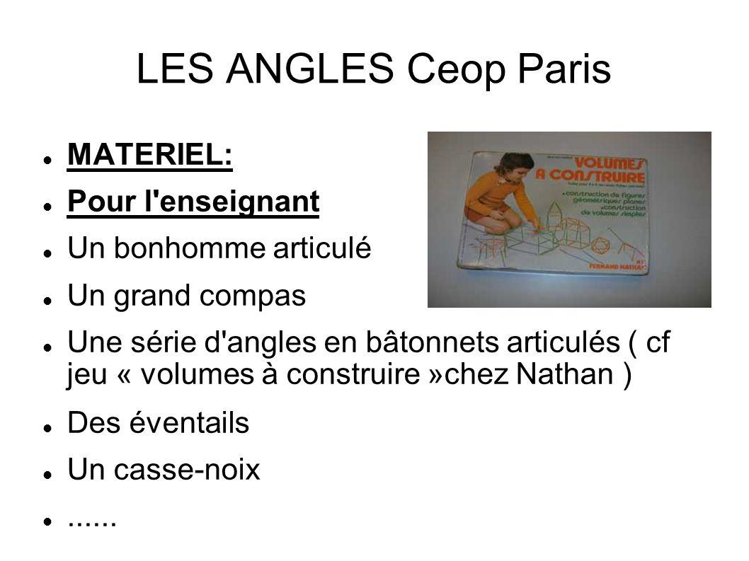 LES ANGLES Ceop Paris MATERIEL: Pour l'enseignant Un bonhomme articulé Un grand compas Une série d'angles en bâtonnets articulés ( cf jeu « volumes à