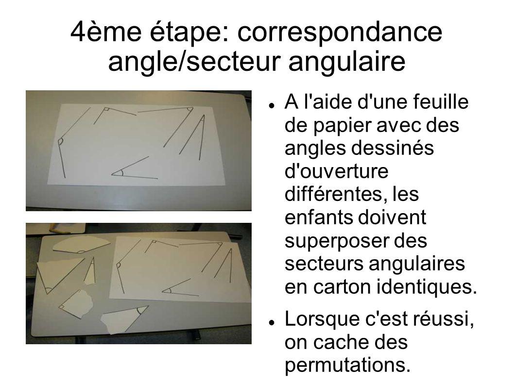 A l aide d une feuille de papier avec des angles dessinés d ouverture différentes, les enfants doivent superposer des secteurs angulaires en carton identiques.