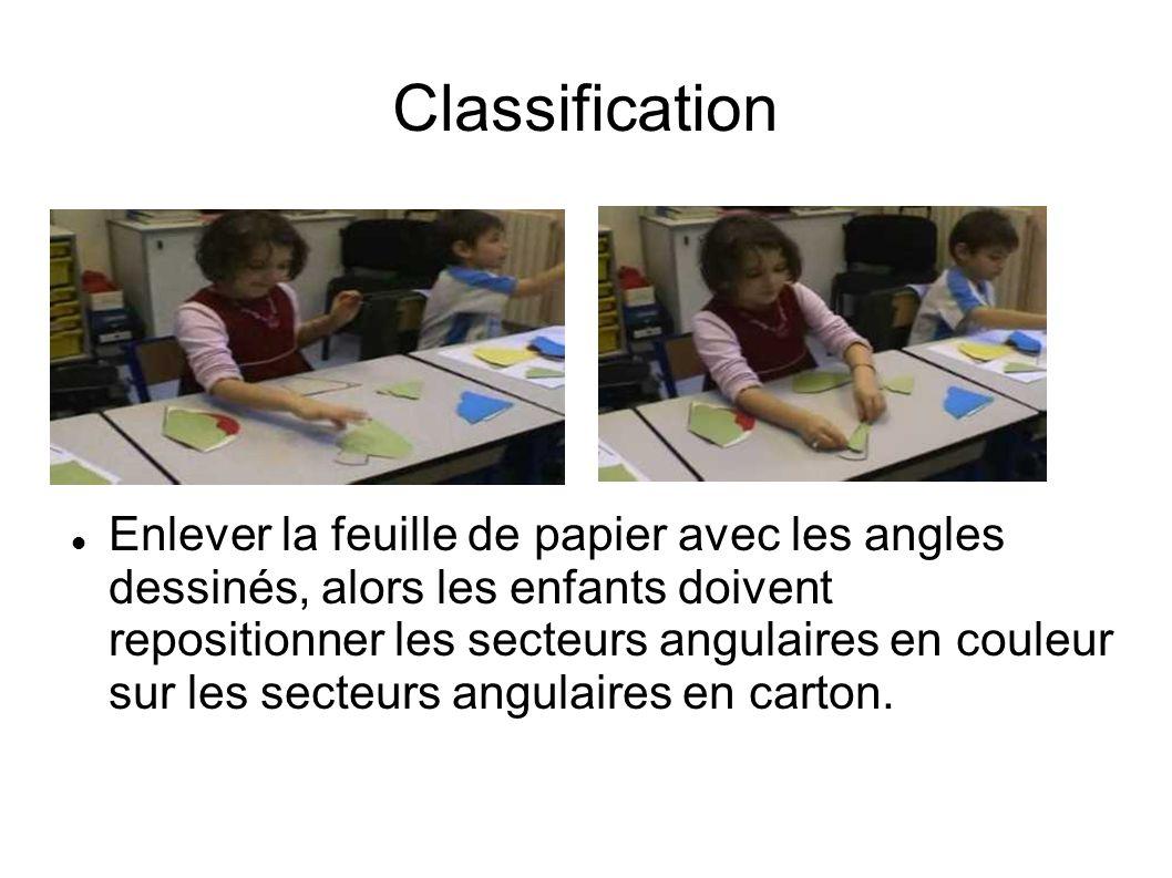 Enlever la feuille de papier avec les angles dessinés, alors les enfants doivent repositionner les secteurs angulaires en couleur sur les secteurs angulaires en carton.