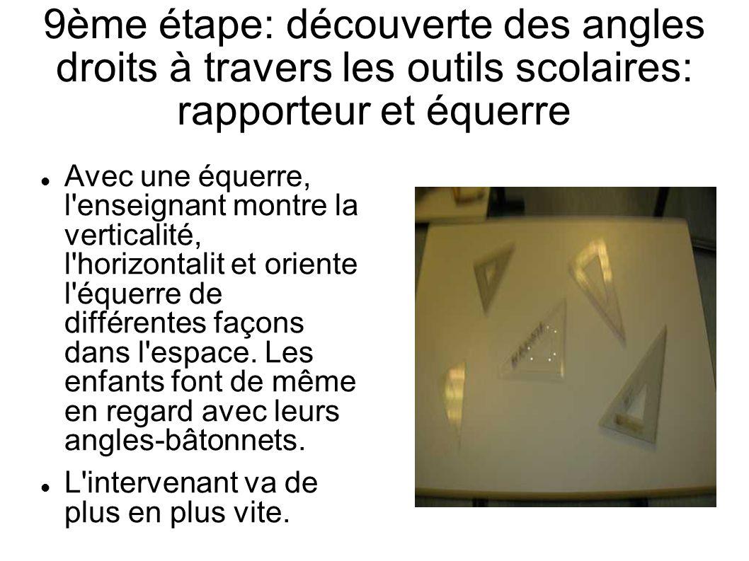 9ème étape: découverte des angles droits à travers les outils scolaires: rapporteur et équerre Avec une équerre, l'enseignant montre la verticalité, l