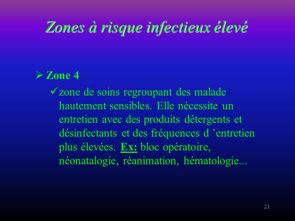 20 Zones à risque infectieux intermédiaires Zone 3 accueille des malades infectés ou sensibles à l infection, ou certains secteurs de plateau techniqu