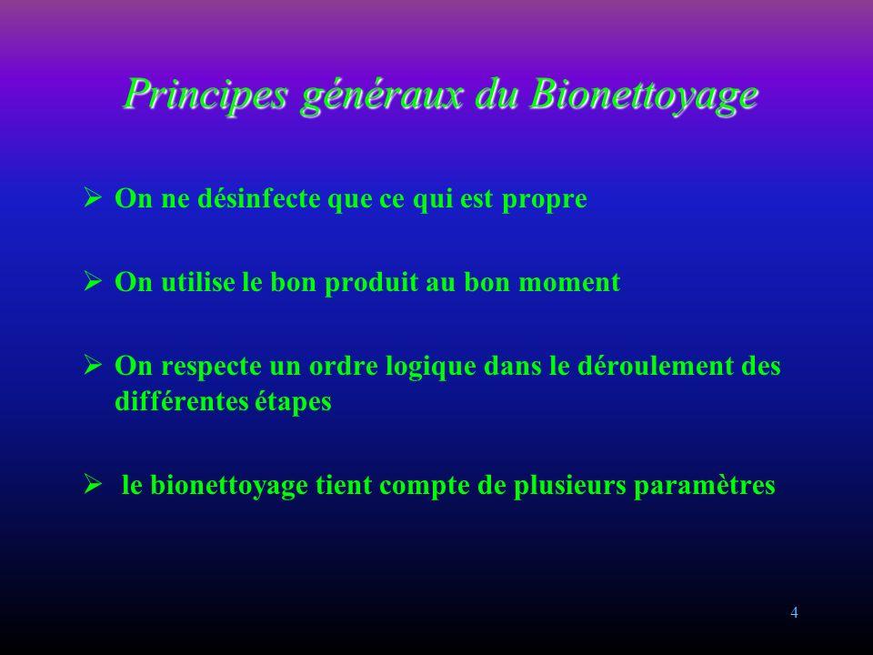 4 Principes généraux du Bionettoyage On ne désinfecte que ce qui est propre On utilise le bon produit au bon moment On respecte un ordre logique dans le déroulement des différentes étapes le bionettoyage tient compte de plusieurs paramètres