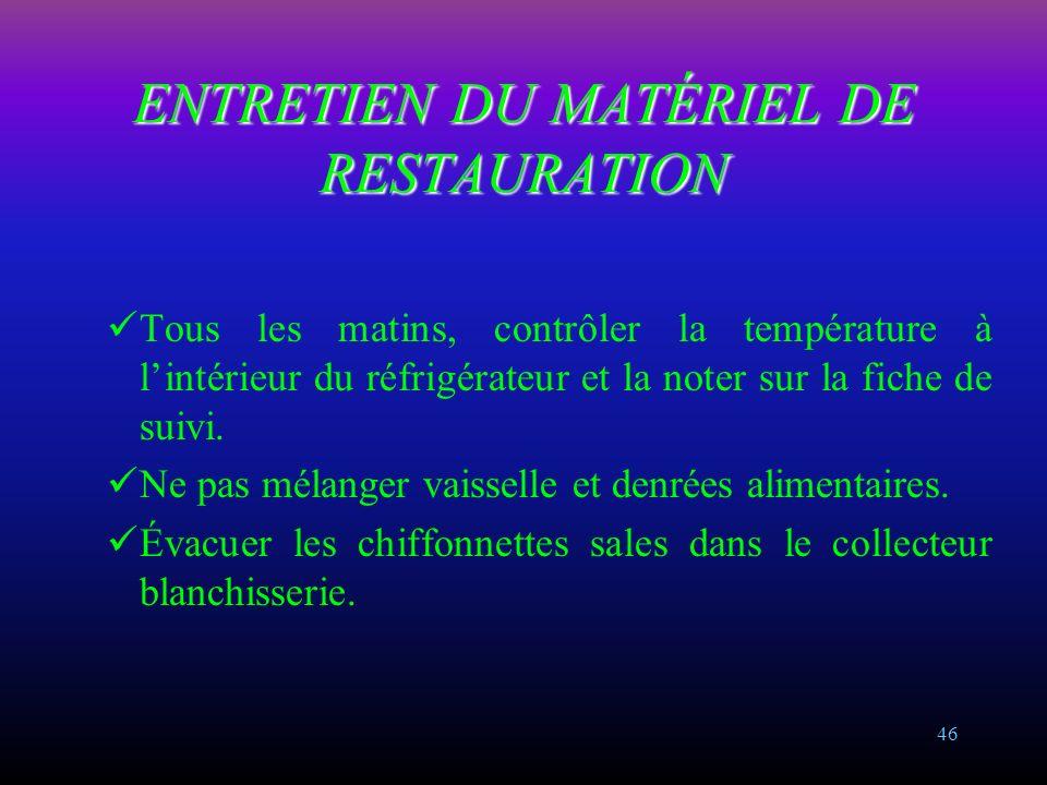 45 ENTRETIEN DU MATÉRIEL DE RESTAURATION Principes Tout matériel en contact avec les denrées alimentaires doit être nettoyé avec un produit agrée alim