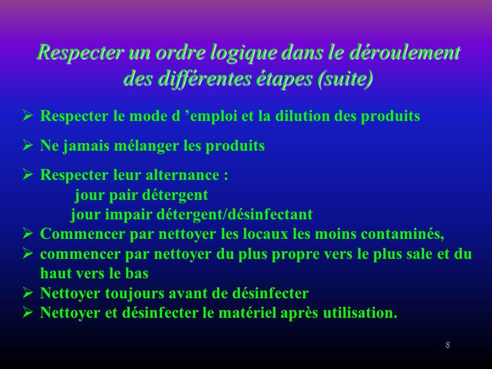7 Respecter un ordre logique dans le déroulement des différentes étapes Vérifier le bon état du matériel : propreté et sécurité Se laver les mains ava