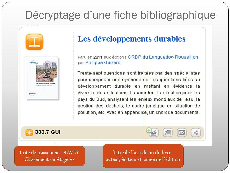 Décryptage dune fiche bibliographique Cote de classement DEWEY Classement sur étagères Titre de larticle ou du livre, auteur, édition et année de lédi