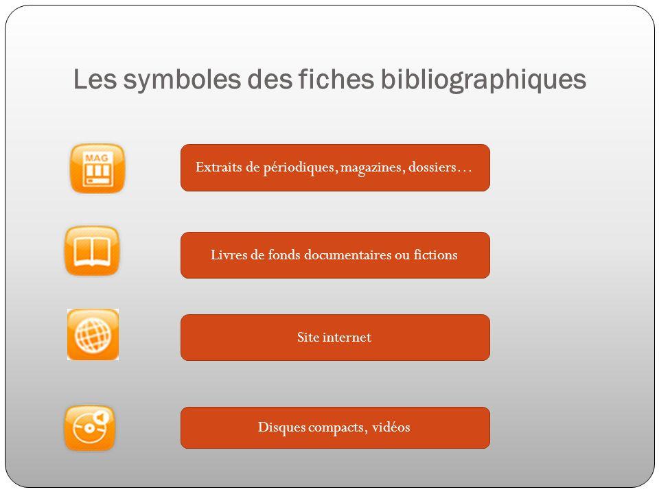 Les symboles des fiches bibliographiques Extraits de périodiques, magazines, dossiers… Livres de fonds documentaires ou fictions Site internet Disques