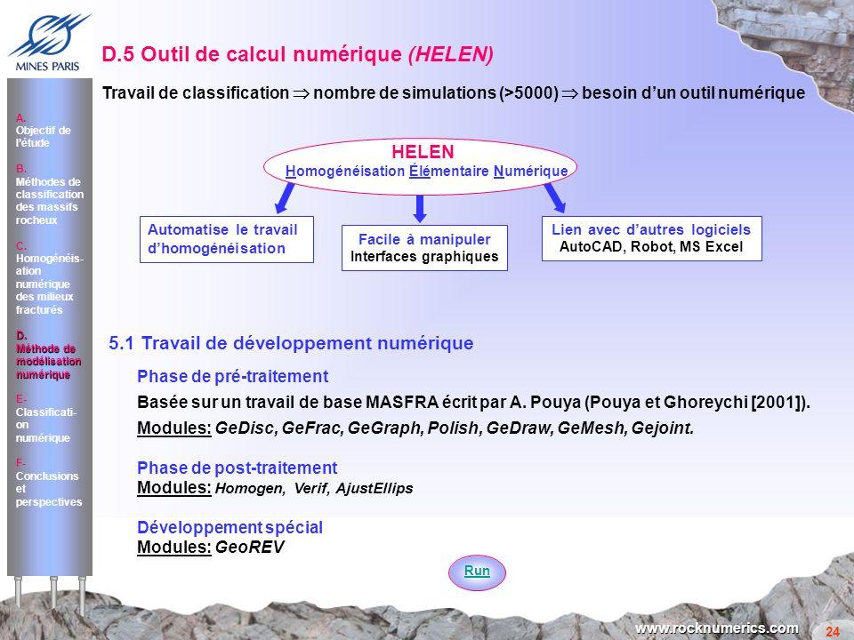 24 www.rocknumerics.com D.5 Outil de calcul numérique (HELEN) Travail de classification nombre de simulations (>5000) besoin dun outil numérique 5.1 T