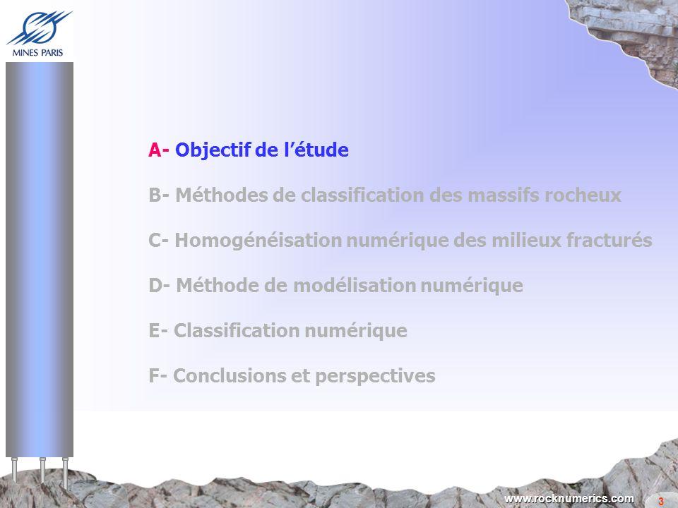 3 www.rocknumerics.com A- Objectif de létude B- Méthodes de classification des massifs rocheux C- Homogénéisation numérique des milieux fracturés D- M