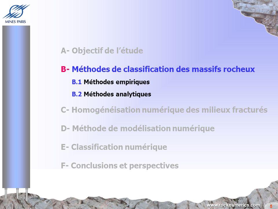 5 www.rocknumerics.com A- Objectif de létude B- Méthodes de classification des massifs rocheux B.1 Méthodes empiriques B.2 Méthodes analytiques C- Hom