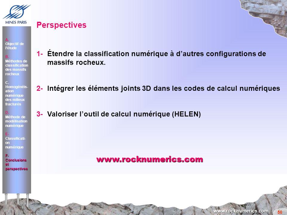 56 www.rocknumerics.com 1-Étendre la classification numérique à dautres configurations de massifs rocheux. 2-Intégrer les éléments joints 3D dans les