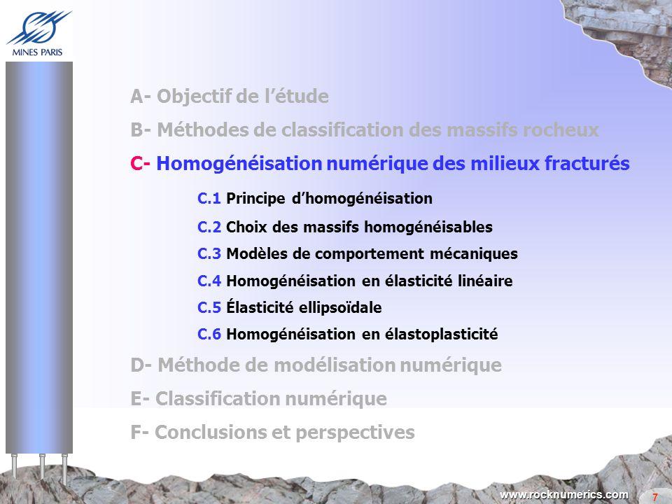 7 www.rocknumerics.com A- Objectif de létude B- Méthodes de classification des massifs rocheux C- Homogénéisation numérique des milieux fracturés C.1