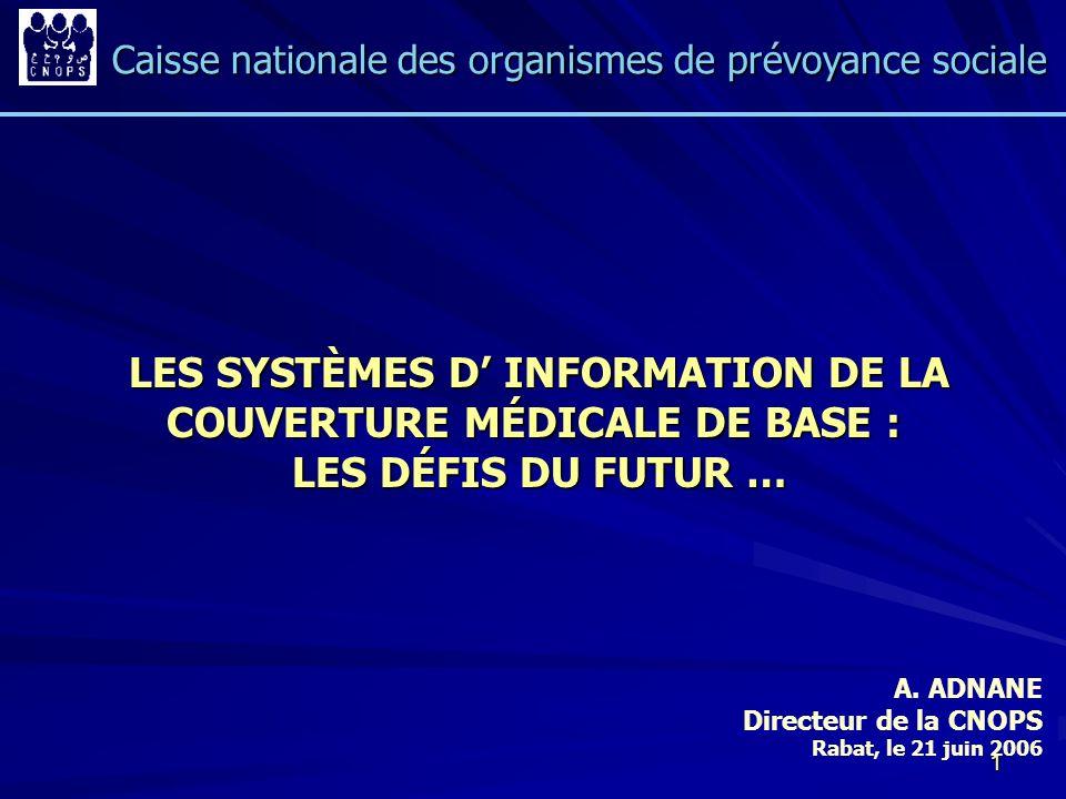 1 LES SYSTÈMES D INFORMATION DE LA COUVERTURE MÉDICALE DE BASE : LES SYSTÈMES D INFORMATION DE LA COUVERTURE MÉDICALE DE BASE : LES DÉFIS DU FUTUR … L