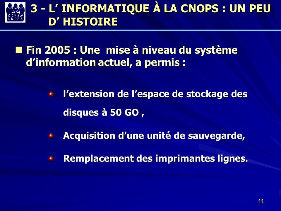 11 Fin 2005 : Une mise à niveau du système dinformation actuel, a permis : Fin 2005 : Une mise à niveau du système dinformation actuel, a permis : lex