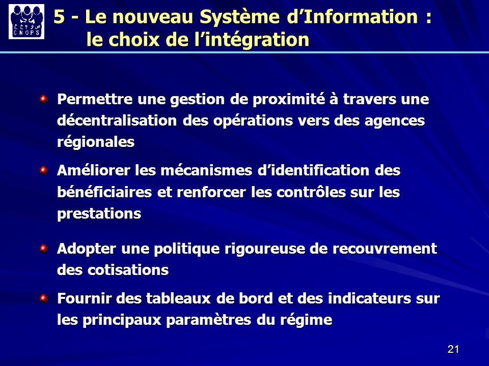 21 Permettre une gestion de proximité à travers une décentralisation des opérations vers des agences régionales Améliorer les mécanismes didentificati