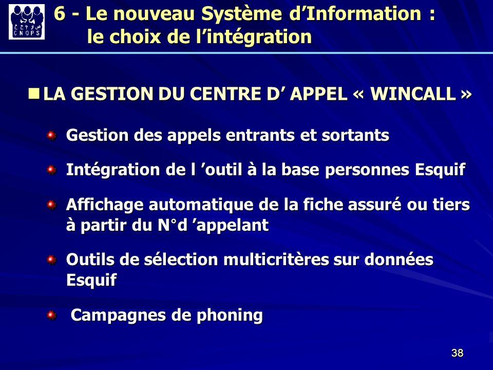 38 6 - Le nouveau Système dInformation : le choix de lintégration LA GESTION DU CENTRE D APPEL « WINCALL » LA GESTION DU CENTRE D APPEL « WINCALL » Ge