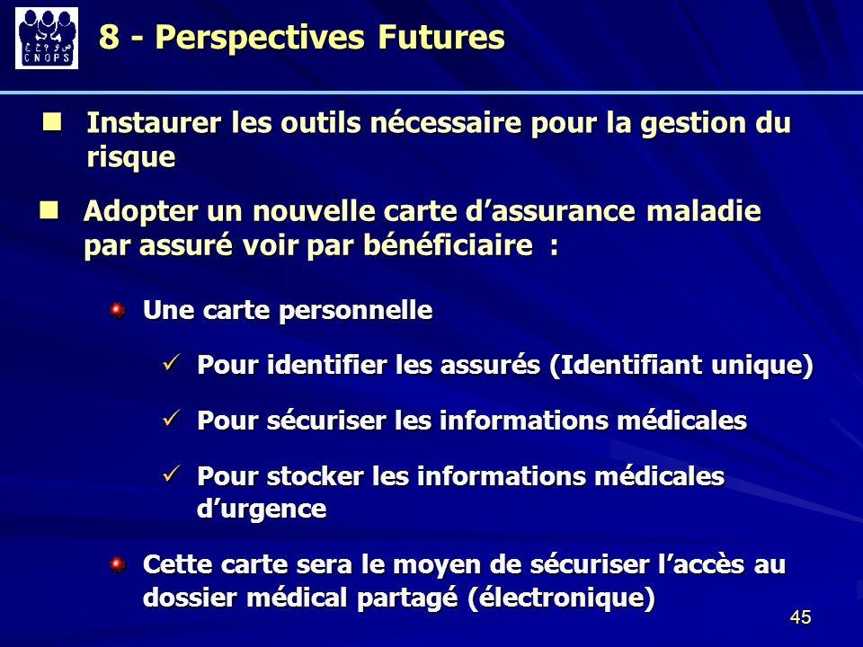 45 8 - Perspectives Futures 8 - Perspectives Futures Instaurer les outils nécessaire pour la gestion du risque Instaurer les outils nécessaire pour la