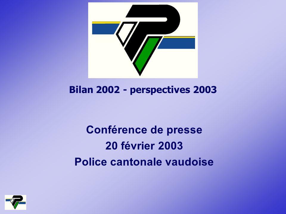 Bilan 2002 - perspectives 2003 Conférence de presse 20 février 2003 Police cantonale vaudoise